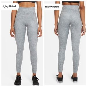 Nike One Luxe heathered gray high waisted leggings full length small